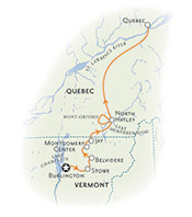 Vermont & Quebec Biking Map